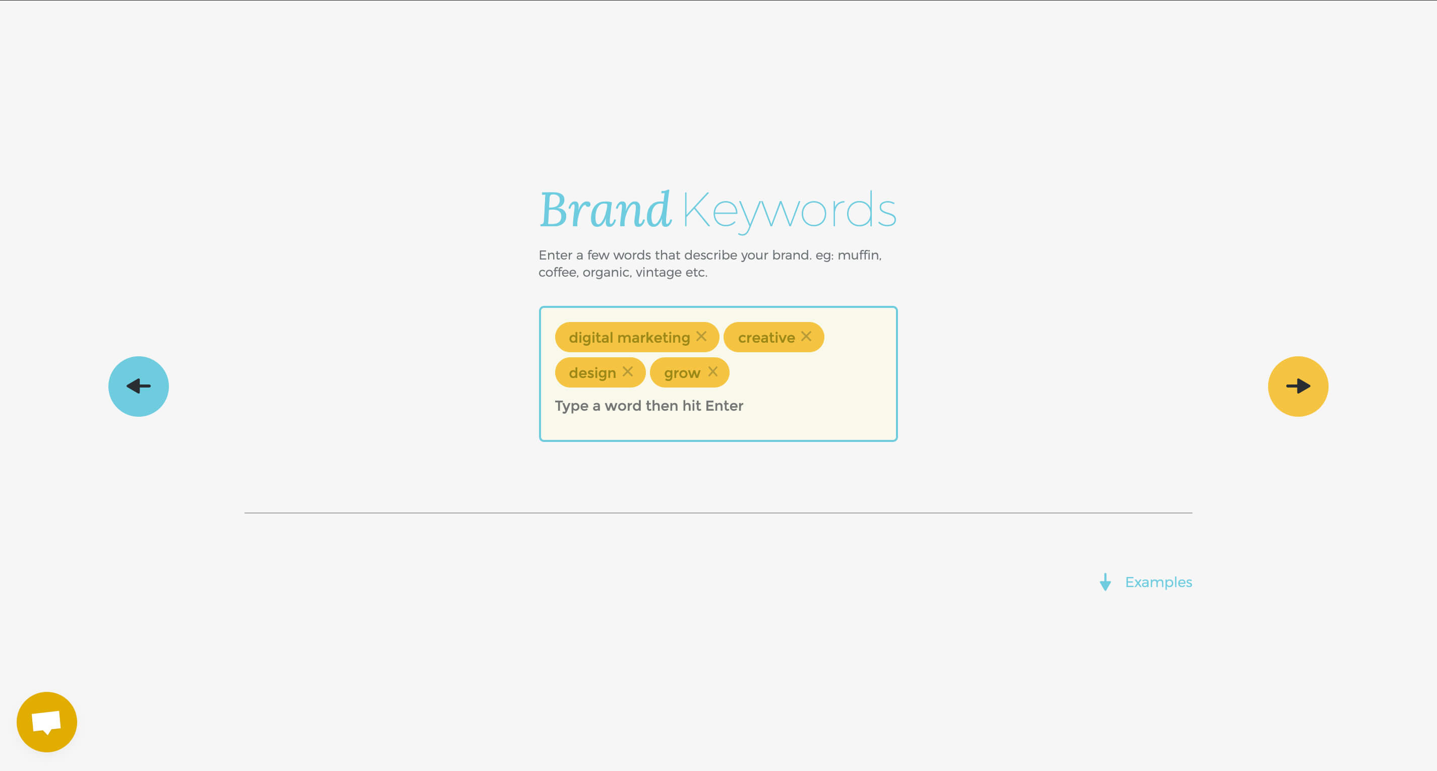 select keywords for brandmark's ai logo generator